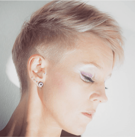Cute Pixie with Shaved Sides and Mini-Bangs